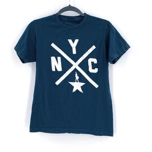 Hamilton the Musical NYC Navy Short Sleeve Tee S